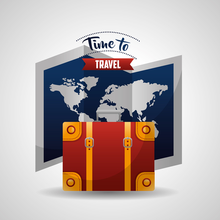 time to travel map route equipment best trip vector illustration