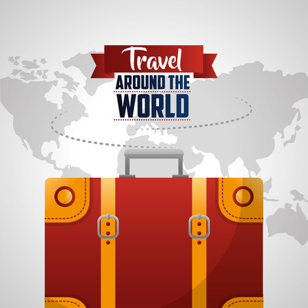 travel around the world red equipment white map route background vector illustration