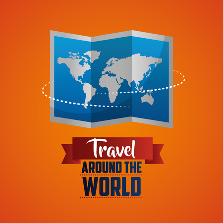 travel around the world map route orange background vector illustration