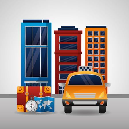 taxi transport map location city hotel compass suitcase vector illustration
