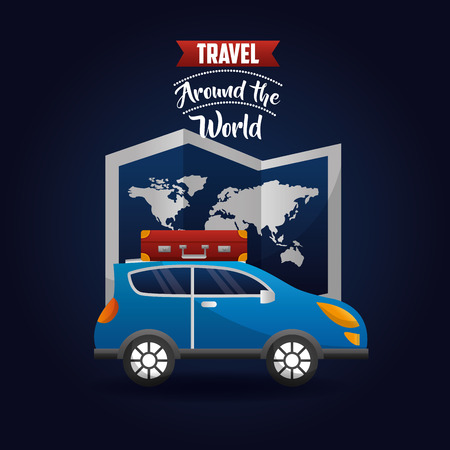 automobile with suitcase in roof travel map world vector illustration