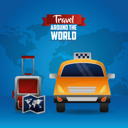 travel around the word taxi suitcase and map
