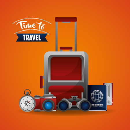 travel suitcase map ticket compass and binoculars vector illustration