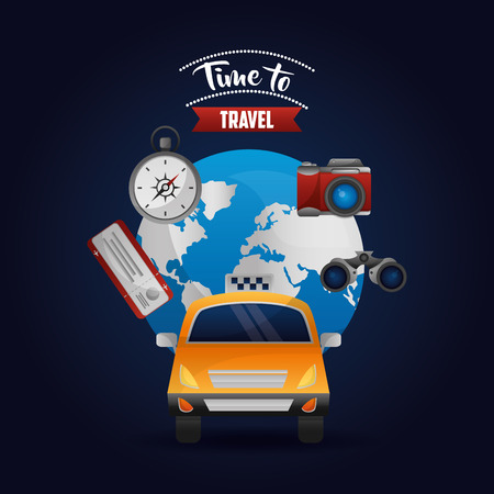 taxi transport around of world camera ticket compass vector illustration