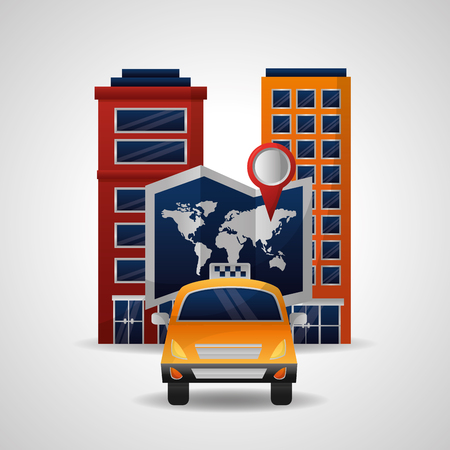 taxi transport travel world map and city location vector illustration