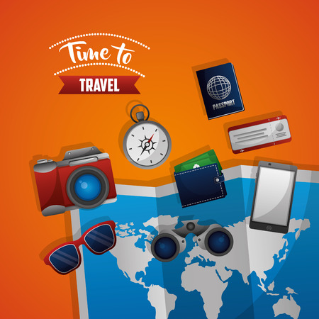 time to travel map sunglasses compass passport ticket phone Vettoriali