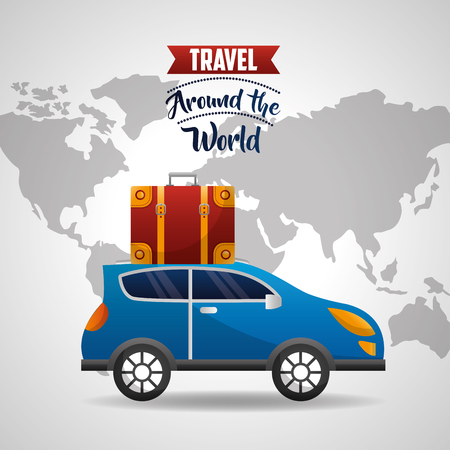 automobile with suitcase in roof travel world vector illustration Ilustracja