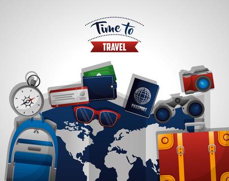 time to travel map guide equipments handbag compass camera passport wallet vector illustration Ilustrace