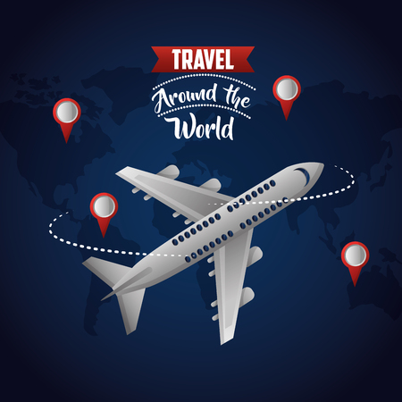travel around the world locations route airplane trip map background vector illustration Ilustração