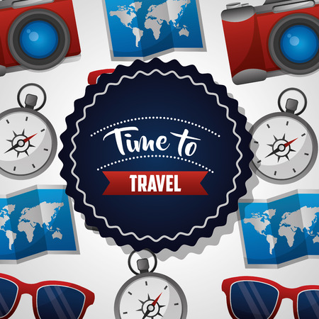 time to travel sticker sign map guide compass glasses camera background vector illustration