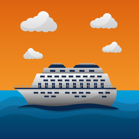 travel around the world sea clouds cruise trip vector illustration