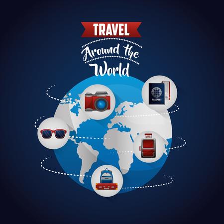 Reise um die Welt Route Brille Kamera Handtasche Pass Vektor-Illustration Vektorgrafik