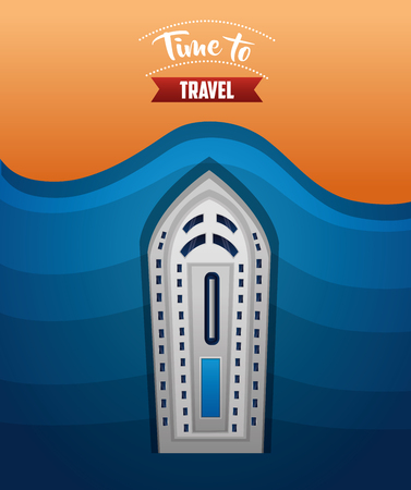 time to travel island big cruise trip vector illustration Иллюстрация