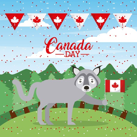 canada day dotted background wood wolf holding flag vector illustration