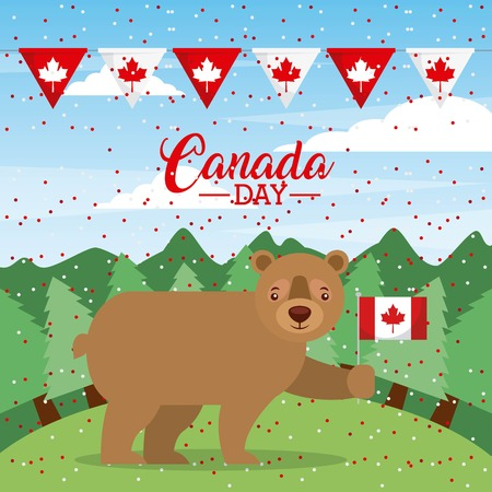 canada day background pennants bear holding flag celebrate vector illustration