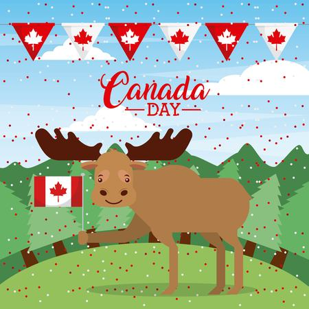 canada day cute moose holding flag leave maple pennants dotted background vector illustration
