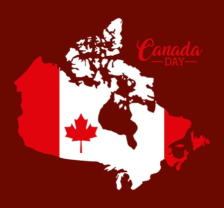 canada day grunge map flag important date vector illustration