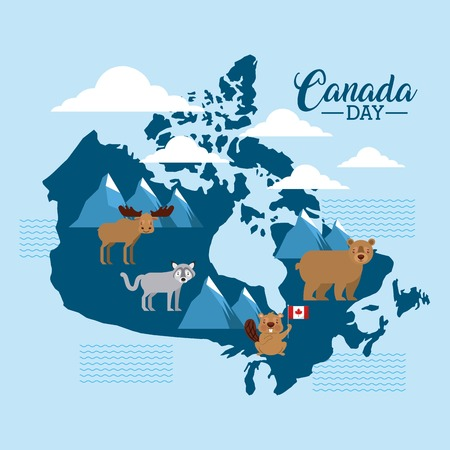 canada day clouds grunge map with animals vector illustration