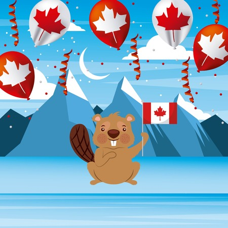 canada day ice mountains moon clouds serpentines balloons beaver holding flag vector illustration