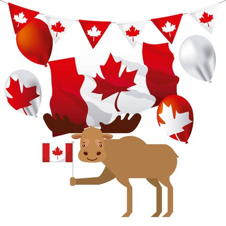 canada day wave flag leave maple pennants cute moose vector illustration