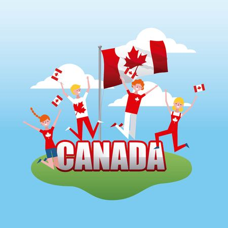 canada day grass people jumping happy celebrate holding flags vector illustration