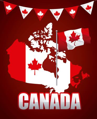 canada day grunge red map flag leave maples pennants vector illustration