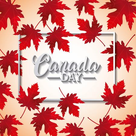 canada day degrade background frame sign many leave maples background vector illustration Illusztráció