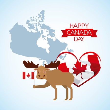 canada day grunge blue map moose heart flag happy date vector illustration