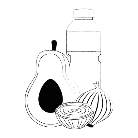 oil bottle with vegetables vector illustration design