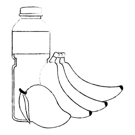 juice fruit bottle with bananas and mango vector illustration design