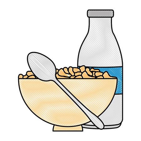 cereal dish with spoon and bottle milk vector illustration design