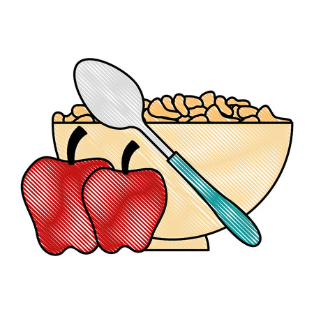 cereal dish with spoon and apples vector illustration design