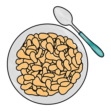 cereal dish with spoon vector illustration design Foto de archivo - 103252811