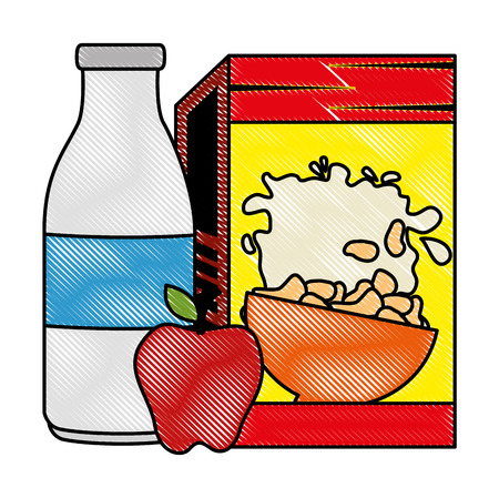 cereal box with milk bottle and apple vector illustration design Stok Fotoğraf - 103252816
