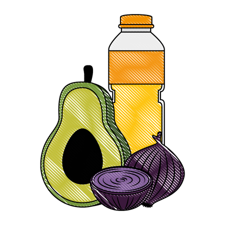 oil bottle with vegetables vector illustration design Stock Vector - 103252820