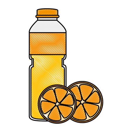 juice fruit bottle with oranges vector illustration design