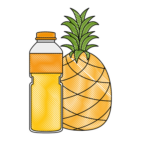 juice fruit bottle with pineapple vector illustration design  イラスト・ベクター素材