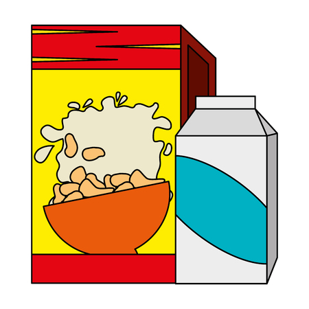 cereal box with milk packing vector illustration design Stok Fotoğraf - 103255102