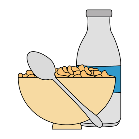 cereal dish with spoon and bottle milk vector illustration design Foto de archivo - 103255104