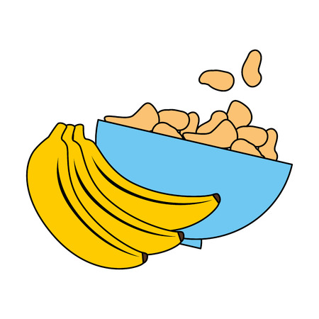 cereal dish with bananas clusters vector illustration design 向量圖像