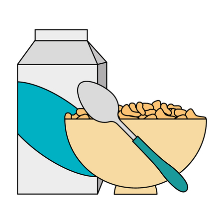 cereal with milk and dish vector illustration design Stok Fotoğraf - 103255111