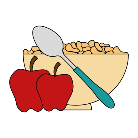 cereal dish with spoon and apples vector illustration design Foto de archivo - 103255114