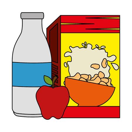 cereal box with milk bottle and apple vector illustration design Stok Fotoğraf - 103255821