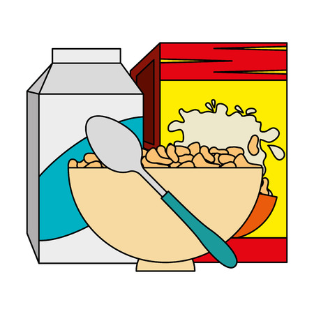 cereal box with milk and dish vector illustration design Standard-Bild - 103255927