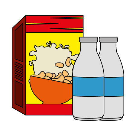 cereal box with milk bottles vector illustration design Standard-Bild - 103255930