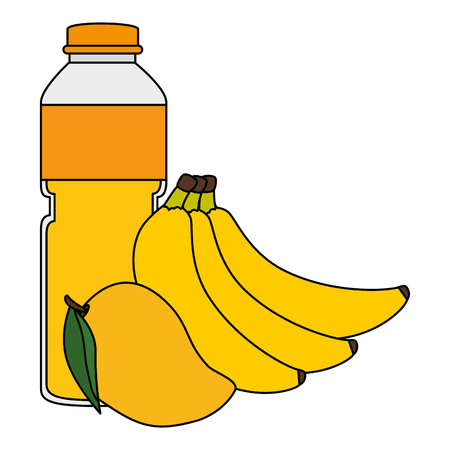 juice fruit bottle with bananas and mango vector illustration design