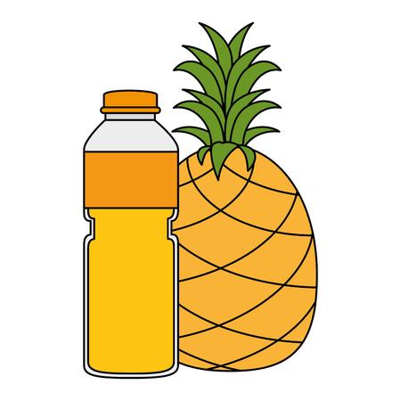 juice fruit bottle with pineapple vector illustration design 일러스트