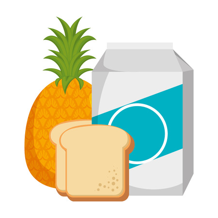 milk box with bread and fruit vector illustration design Stock Illustratie