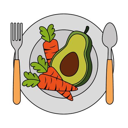 fresh avocado and carrots in dish vegetarian food vector illustration design