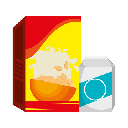 cereal box with milk packing vector illustration design